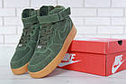 Мужские зимние кроссовки Nike Air Force High Winter (зимние Найк Аир Форс в стиле) с мехом зеленые, фото 7