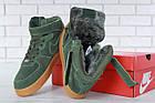 Мужские зимние кроссовки Nike Air Force High Winter (зимние Найк Аир Форс в стиле) с мехом зеленые, фото 9