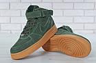 Мужские зимние кроссовки Nike Air Force High Winter (зимние Найк Аир Форс в стиле) с мехом зеленые, фото 6