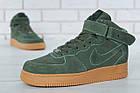 Мужские зимние кроссовки Nike Air Force High Winter (зимние Найк Аир Форс в стиле) с мехом зеленые, фото 10