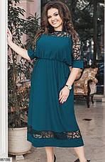 Элегантное нарядное синее женское платье большие размеры: 48-58, фото 3
