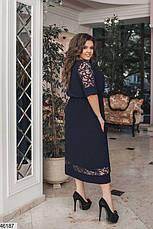 Элегантное нарядное синее женское платье большие размеры: 48-58, фото 2