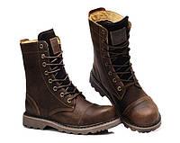 Мужские высокие кожаные сапоги ботинки берцы
