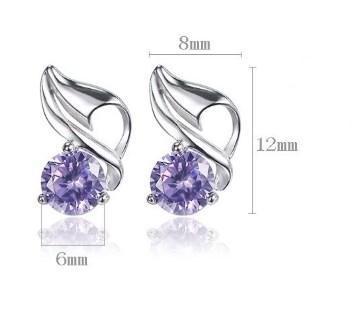 Серебряные серьги с фиолетовым цирконием