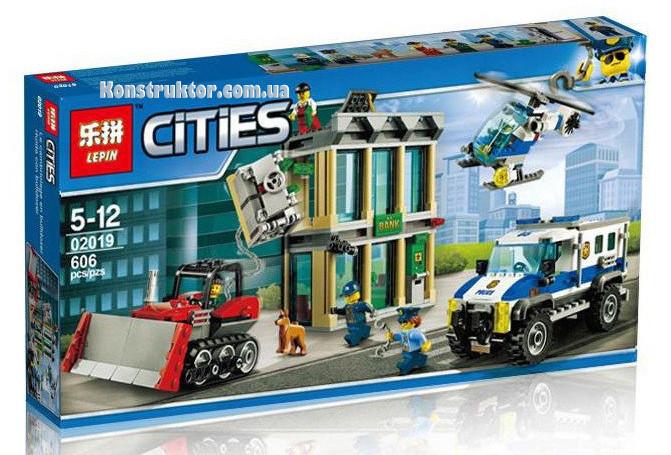 """Конструктор Lepin 02019 """"Ограбление на бульдозере"""" Сити, 606 деталей. Аналог LEGO City 60140"""