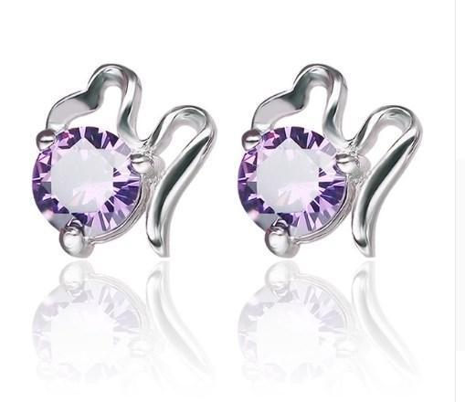 еребряные серьги с фиолетовым цирконием