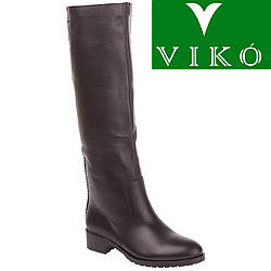 Ботфорты женские Viko (черные, из натуральной кожи, на низком ходу, стильный дизайн)