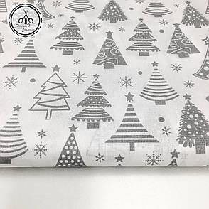 """Польская хлопковая ткань """"елки серые рядами на белом"""", фото 2"""