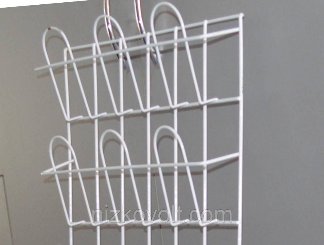 Полка стеллаж  для полиграфической продукции навесная корзиночная 2 ряда по 3 ячейки