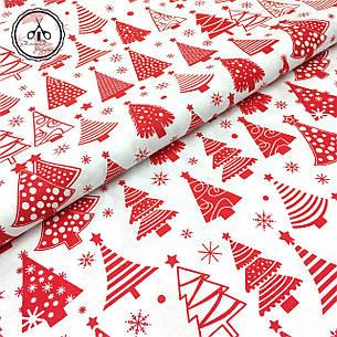 """Польская хлопковая ткань """"елки красные рядами на белом"""", фото 2"""