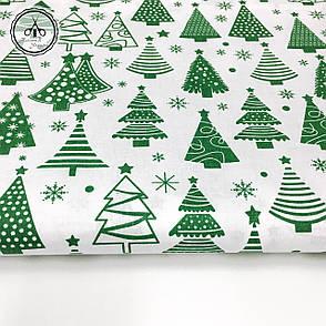 """Польская хлопковая ткань """"елки зеленые рядами на белом"""", фото 2"""