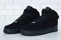 "Зимние кроссовки на меху Nike Air Force 1 High ""Black"" - ""Черные"" (Копия ААА+)"
