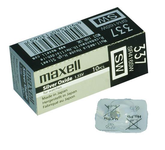 Часовая серебряно-цинковая батарейка 337 Maxell SR-416SW 1/card 10/box