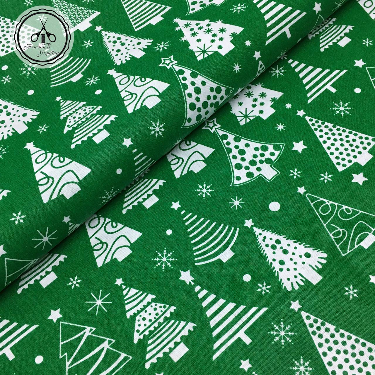 """Польская хлопковая ткань """"елки белые рядами на зеленом"""""""