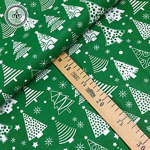"""Польская хлопковая ткань """"елки белые рядами на зеленом"""", фото 2"""