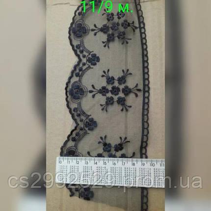 Бант органза,вышитый 9 метров,черный., фото 2
