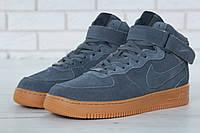 """Зимние кроссовки на меху Nike Air Force 1 High """"Grey Brown"""" - """"Серые Коричневые"""" (Копия ААА+)"""