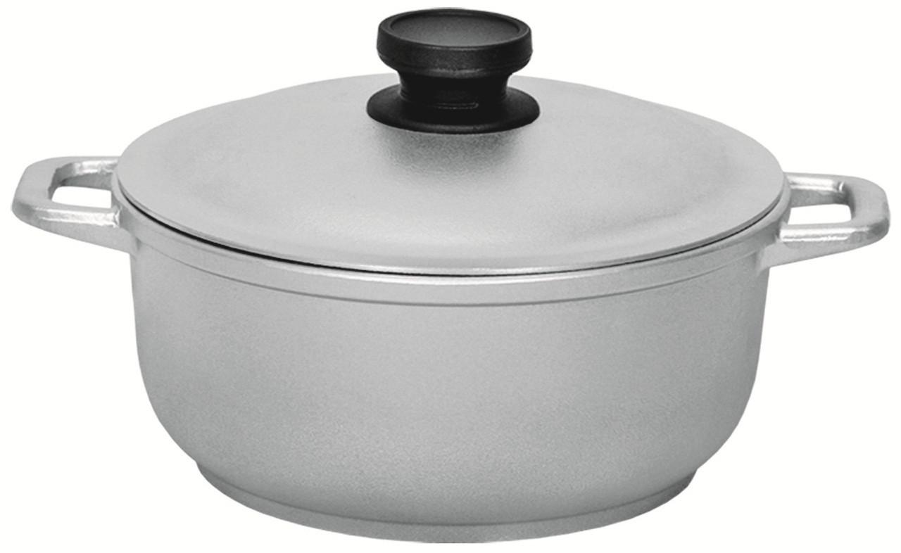 Кастрюля литой алюминий 4 л утолщенное дно с крышкой Биол К401