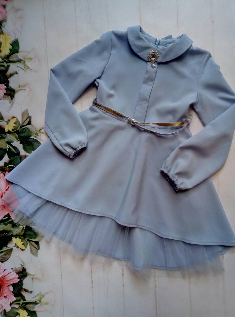 """Платье на девочку """"Брошь"""", р. 128-152, цвет голубой"""