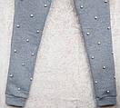Теплый женский спортивный костюм с бусинками жемчуг трехнитка на флисе L-ка серый меланж, фото 4