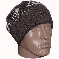Мужская вязаная шапка-носок(утепленный вариант) с норвежским орнаментом