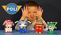 Игрушки-трансформеры комплект Робокар Поли, Robocar Poli, Поли, Эмбер, Вертолетик Хели, Рой