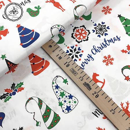 """Польская хлопковая ткань """"елки, олени Merry Christmas на белом"""", фото 2"""