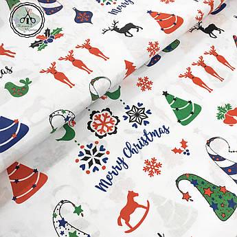 """Польская хлопковая ткань """"елки, олени Merry Christmas на белом"""""""