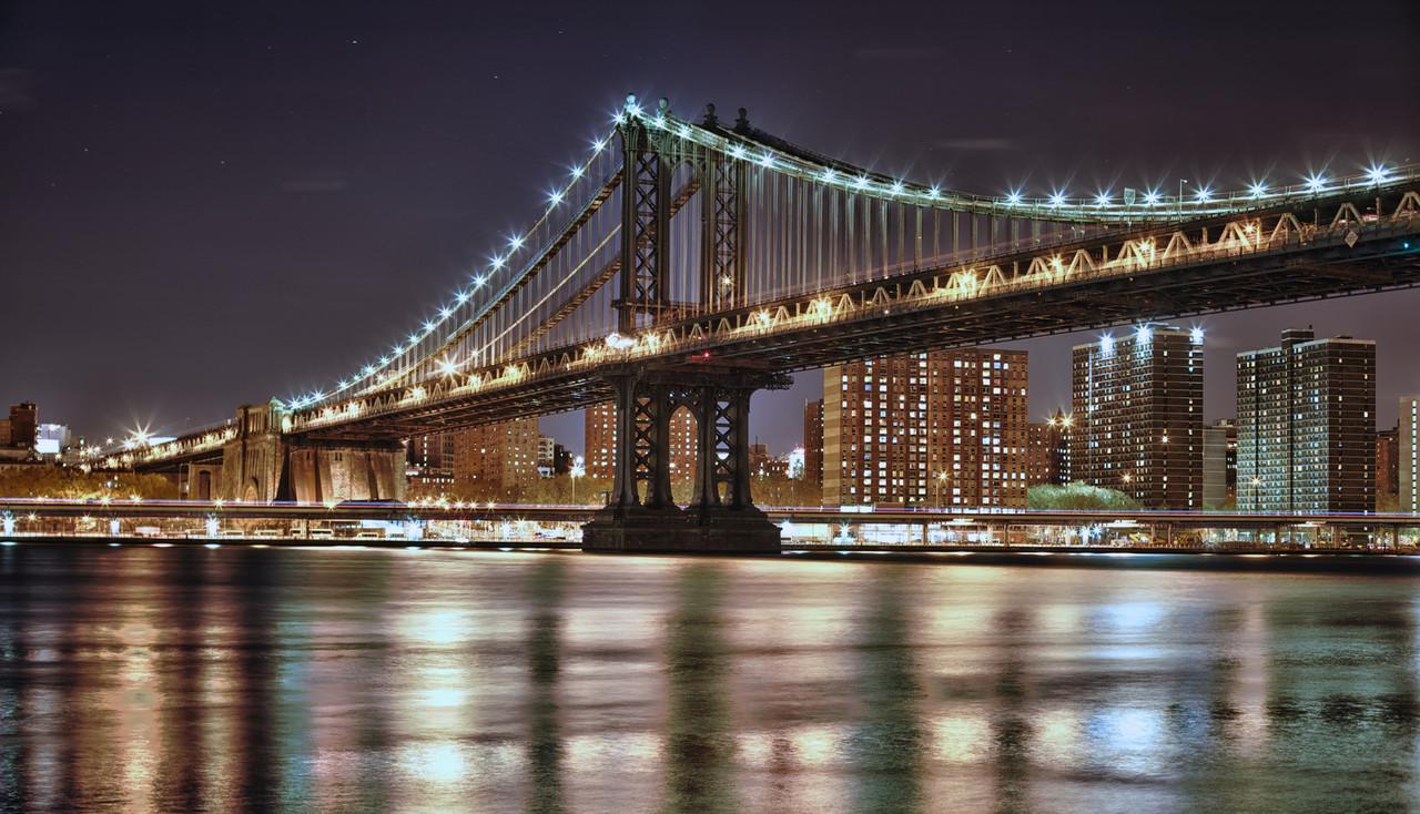 """Картина на стекле """"Мост ночного города"""""""