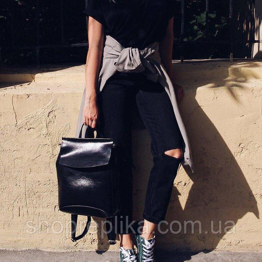 Женская Сумка рюкзак трансформер кожаный купить  в черном цвете