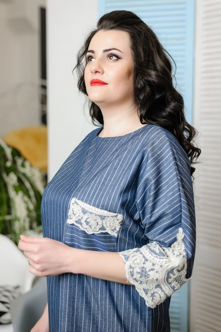 "Стильное женское платье ""Стрейч-коттон"" 48 размер баталы"
