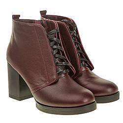 Женские ботильоны Monroe (стильные, бордовые, кожаные, на широком каблуке)