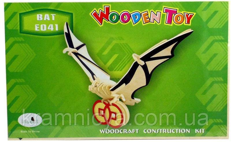 Деревянные 3D пазлы Летучая мышь (Е041)
