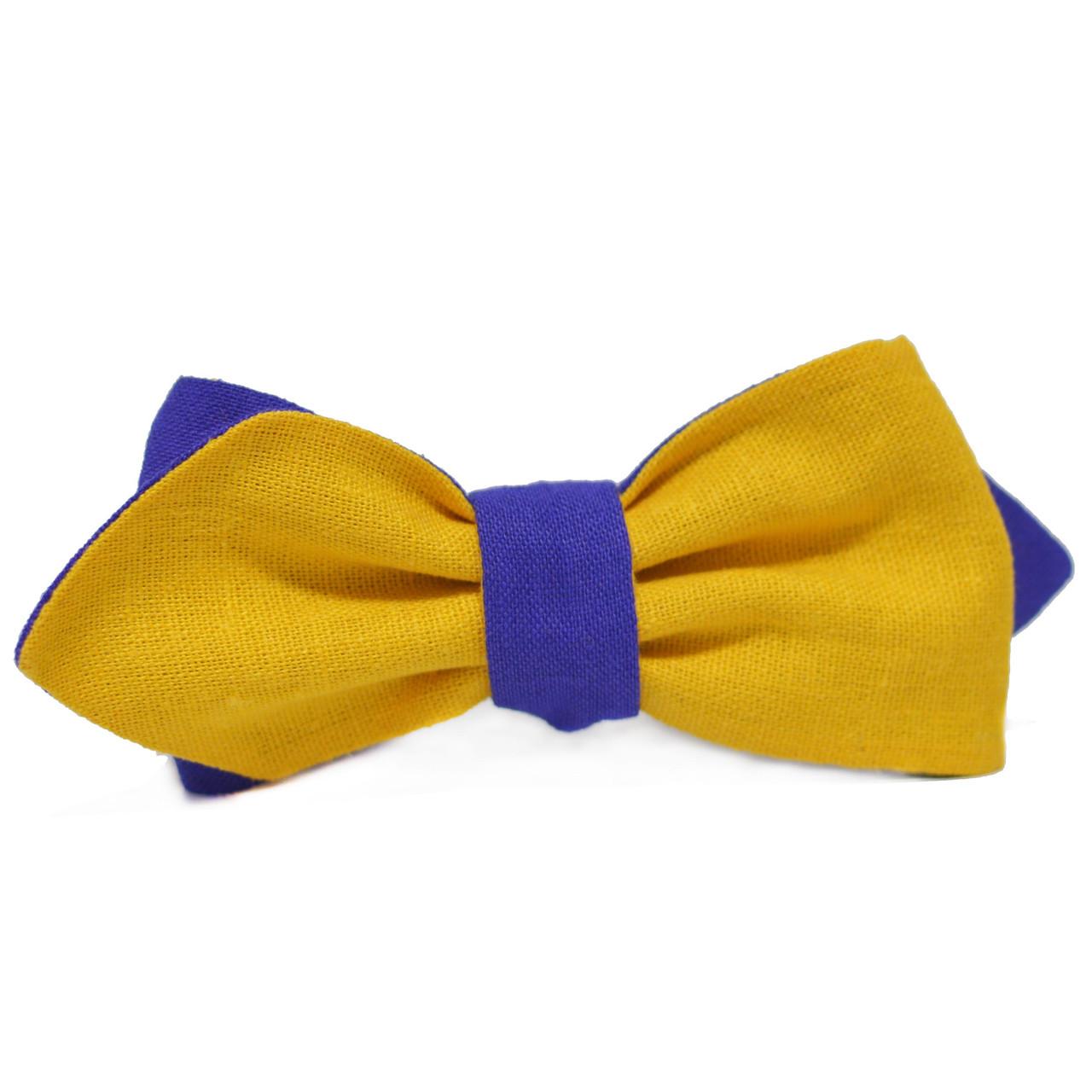 Bow Tie House Галстук-бабочка патриотическая сине-желтая двухсторонняя