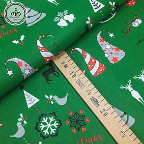 """Польская хлопковая ткань """"елки, олени Merry Christmas на зеленом"""", фото 2"""