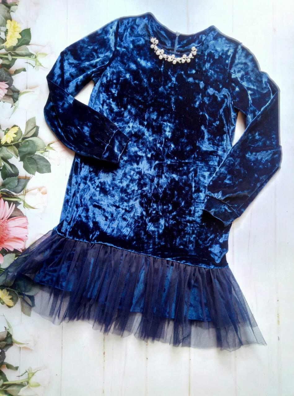 Платье на девочку, мраморный велюр, р. 128-152, цвет синий