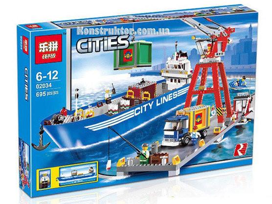 """Конструктор Lepin 02034 """"Городской порт"""" Сити, 695 деталей. Аналог Lego City 7994"""