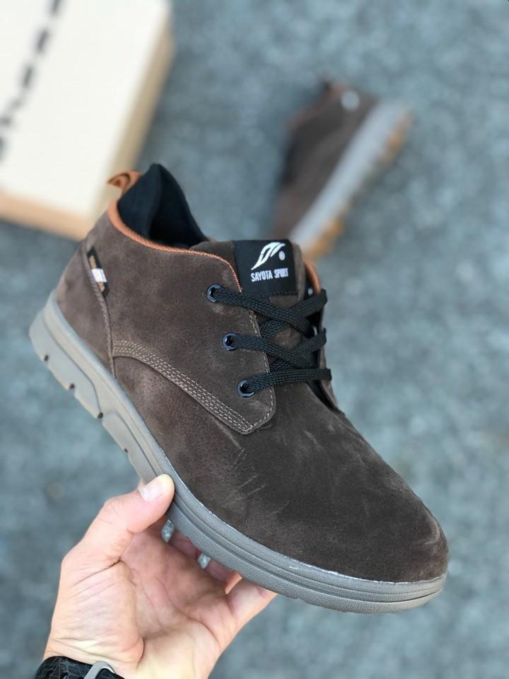 Мужские кожаные зимние ботинки коричневые топ реплика