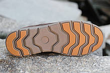Мужские кожаные зимние ботинки коричневые топ реплика, фото 2