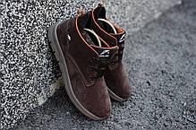 Мужские кожаные зимние ботинки коричневые топ реплика, фото 3