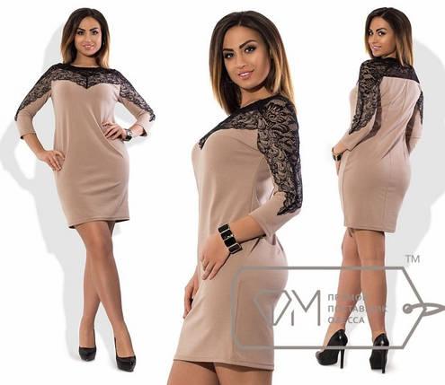 Стильное женское платье набивной гипюр 48, 50, 52, 54 размер батал, фото 2