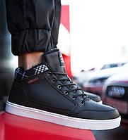 Кроссовки мужские Vintage кожаные молодежные под джинсы высокие на меху зимние (черные), ТОП-реплика, фото 1