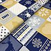 """Польская хлопковая ткань """"елки, снежинки на белых, синих, желтых квадратах"""""""