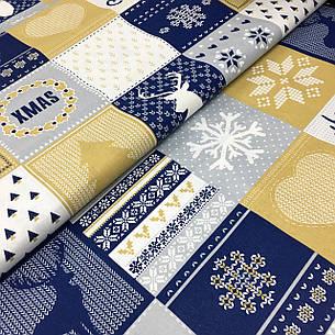 """Польская хлопковая ткань """"елки, снежинки на белых, синих, желтых квадратах"""", фото 2"""