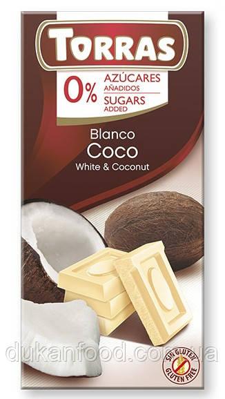 Torras Белый шоколад с КОКОСОМ без сахара