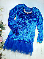 Платье на девочку, мраморный велюр, р. 128-152, цвет электрик