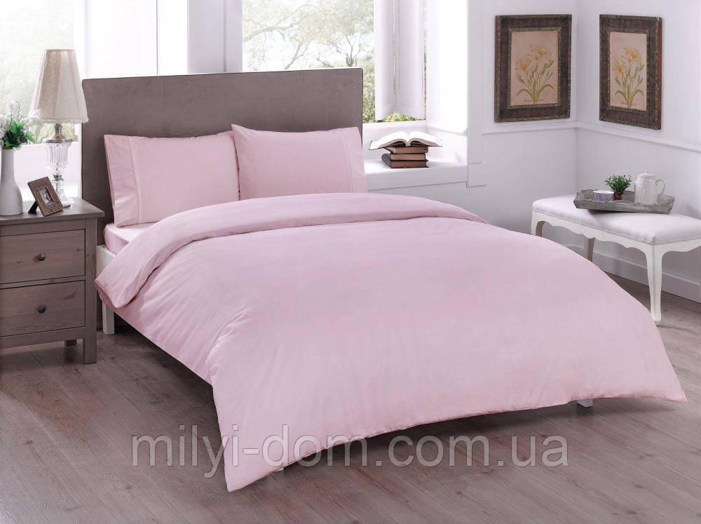 Набор постельного белья TAC Basic pink (двуспальный евро)
