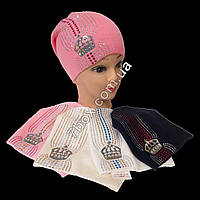 Детская шапка одинарная вязка для девочек 3-6лет. Корона Польша 7468