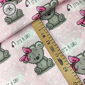 """Польская хлопковая ткань """"мишки GIRL на розовом"""", фото 2"""