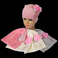 Детская шапка одинарная вязка для девочек 4-6лет. Польша 7465